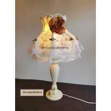 Romantik Kahve Abajur Şapkası ve Ayağı