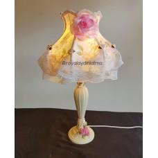 Romantik Pembe Abajur Şapkası ve Ayağı
